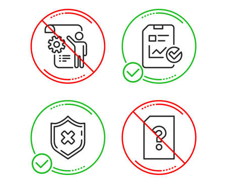 Do or Stop. Settings blueprint, Report checklist and Reject protection icons simple set. Unknown file sign. Engineering cogwheel, Sales growth file, No security. Doc with question mark. Technology set