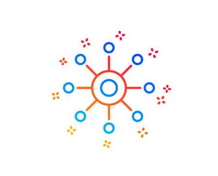 Multichannel line icon. Multitasking sign. Omnichannel symbol. Gradient design elements. Linear multichannel icon. Random shapes. Vector Stock Vector - 118571595