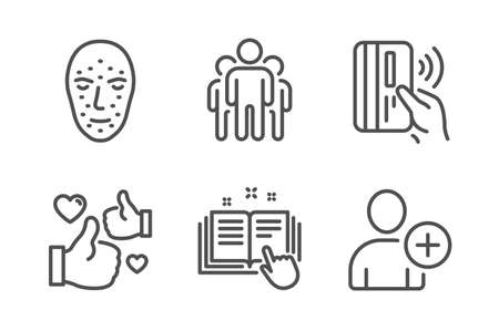 Contactless payment, Group and Face biometrics icons simple set. Technical documentation, Like and Add user signs. Bank money, Managers. People set. Line contactless payment icon. Editable stroke Иллюстрация