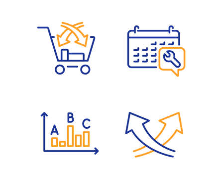 Survey results, Cross sell and Spanner icons simple set. Intersection arrows sign. Best answer, Market retail, Repair service. Exchange. Technology set. Linear survey results icon. Colorful design set Illustration