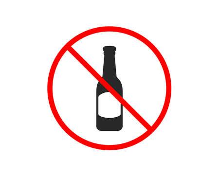 No or Stop. Beer bottle icon. Pub Craft beer sign. Brewery beverage symbol. Prohibited ban stop symbol. No beer icon. Vector