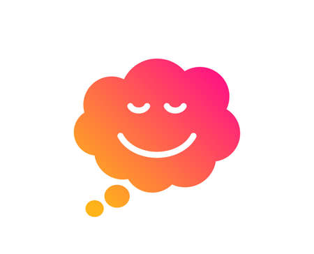 Comic speech bubble with Smile icon. Chat emotion sign. Classic flat style. Gradient speech bubble icon. Vector