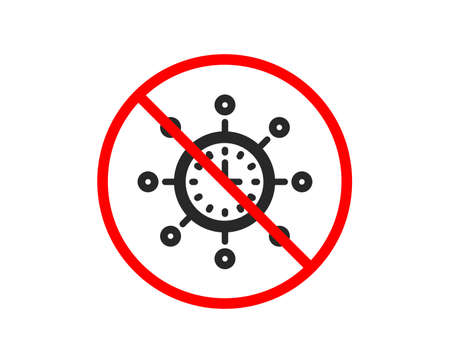No or Stop. World time icon. Global watch sign. Prohibited ban stop symbol. No world time icon. Vector