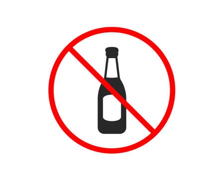 No or Stop. Beer bottle icon. Pub Craft beer sign. Brewery beverage symbol. Prohibited ban stop symbol. No beer icon. Vector