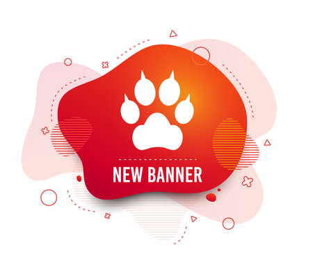 Fluid badge. Dog paw with clutches sign icon. Pets symbol. Abstract shape. Gradient dog paw icon. Flyer liquid banner. Vector