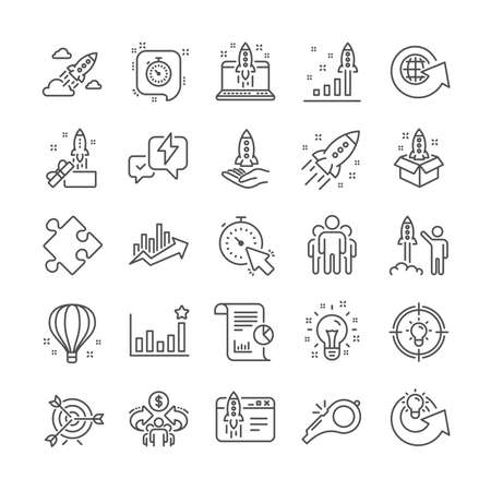 Startup line icons. Business report, Launch Project, Target icons. Strategy, Development plan, Startup space rocket. Air balloon, Out of the Box strategy and Business innovation report. Vector Imagens - 124535631