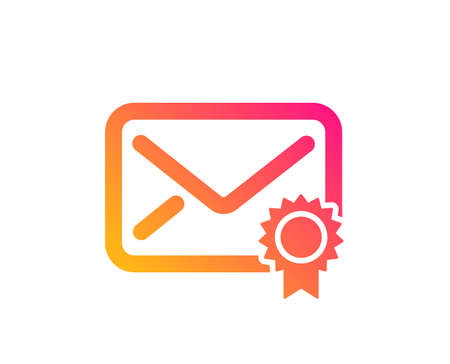 Verified Mail icon. Confirmed Message correspondence sign. E-mail symbol. Classic flat style. Gradient verified Mail icon. Vector
