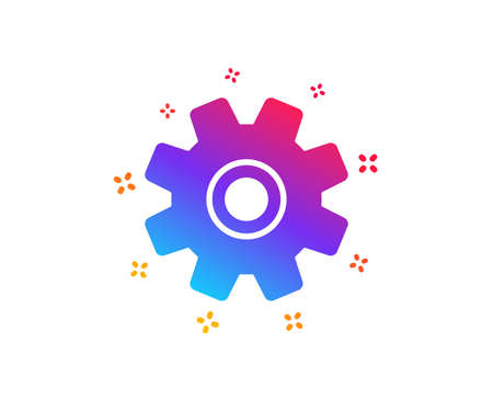 Cogwheel icon. Service sign. Transmission Rotation Mechanism symbol. Dynamic shapes. Gradient design service icon. Classic style. Vector