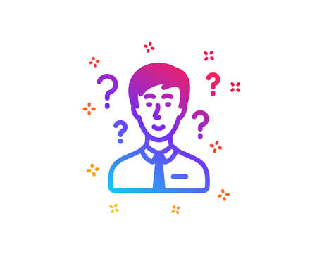Question mark icon. Support consultant sign. Dynamic shapes. Gradient design support consultant icon. Classic style. Vector Stock Illustratie