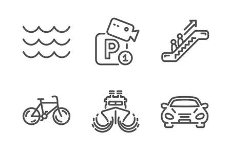 Escalator, Waves and Parking security icons simple set. Ship, Bicycle and Car signs. Elevator, Water wave. Transportation set. Line escalator icon. Editable stroke. Vector