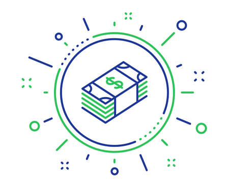 Cash money line icon. Banking currency sign. Dollar or USD symbol. Quality design elements. Technology usd currency button. Editable stroke. Vector Illustration