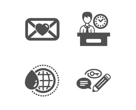 Set of World water, Presentation time and Valentine icons. Keywords sign. Aqua drop, Report, Love letter. Pencil with key.  Classic design world water icon. Flat design. Vector Foto de archivo - 118571625