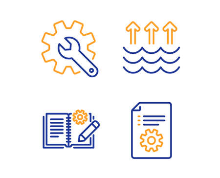 Customisation, Evaporation and Engineering documentation icons simple set. Technical documentation sign. Settings, Global warming, Manual. Industrial set. Linear customisation icon. Vector