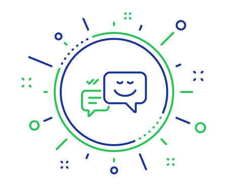Message speech bubbles with Smile line icon. Chat emotion sign. Quality design elements. Technology happy emotion button. Editable stroke. Vector Illustration