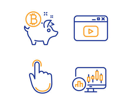 Bitcoin coin, Hand click and Video content icons simple set. Candlestick chart sign. Piggy bank, Location pointer, Browser window. Report analysis. Business set. Linear bitcoin coin icon. Vector Ilustracja