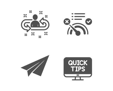 Set of No internet, Paper plane and Recruitment icons. Web tutorials sign. Bandwidth meter, Airplane, Manager change. Quick tips.  Classic design no internet icon. Flat design. Vector