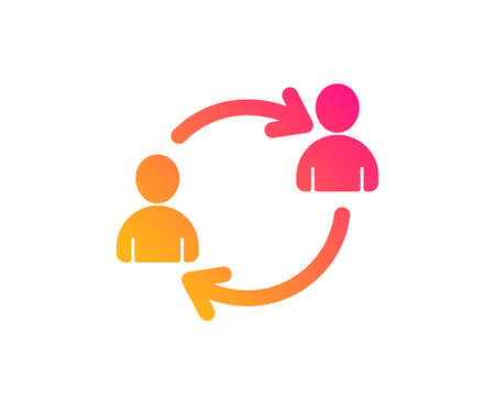 Teamwork icon. User communication or Human resources. Profile Avatar sign. Person silhouette symbol. Classic flat style. Gradient user communication icon. Vector