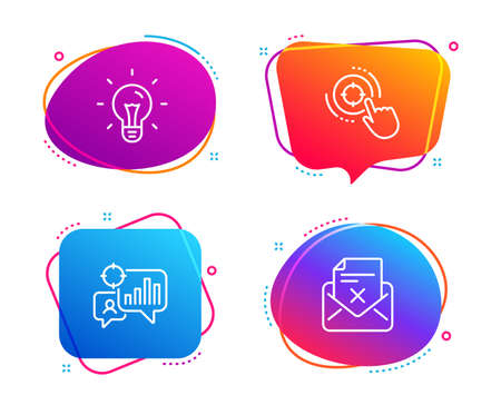Seo statistics, Idea and Seo target icons simple set. Reject letter sign. Analytics chart, Light bulb, Click aim. Delete mail. Technology set. Speech bubble seo statistics icon. Vector