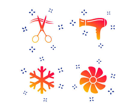 Hotel services icons. Air conditioning, Hairdryer and Ventilation in room signs. Climate control. Hairdresser or barbershop symbol. Random dynamic shapes. Gradient apartament icon. Vector Standard-Bild - 118571649