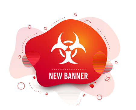 Fluid badge. Biohazard sign icon. Danger symbol. Abstract shape. Gradient biohazard icon. Flyer liquid banner. Vector Illustration