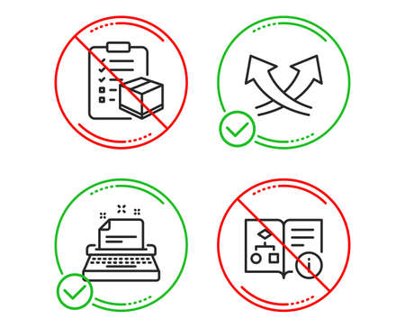 Do or Stop. Typewriter, Parcel checklist and Intersection arrows icons simple set. Technical algorithm sign. Instruction, Logistics check, Exchange. Project doc. Industrial set. Vector
