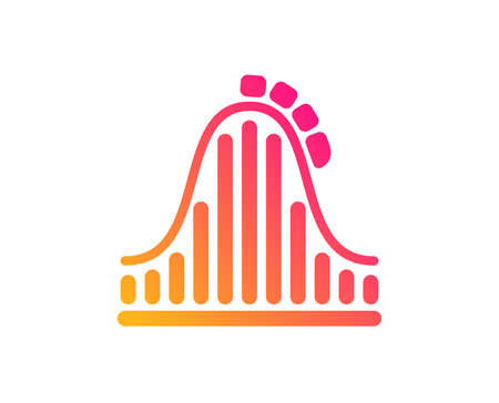 Roller coaster icon. Amusement park sign. Carousels symbol. Classic flat style. Gradient roller coaster icon. Vector