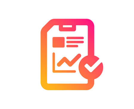 Report document icon. Analysis Chart or Sales growth report sign. Statistics data or Checklist symbol. Classic flat style. Gradient report checklist icon. Vector 일러스트