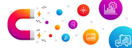Magnet attracting. Search files, Marketing statistics and Seo graph icons simple set. Parcel delivery, 3d chart and Graph chart signs. Magnifying glass, Web analytics. Business set. Vector Illustration