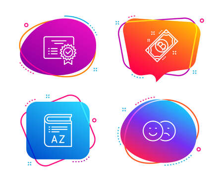 Certificate, Vocabulary and Bitcoin icons simple set. Like sign. Verified document, Book, Cryptocurrency coin. Social media dislike. Speech bubble certificate icon. Colorful banners design set. Vector