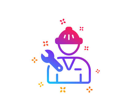 Spanner tool icon. Repairman service sign. Fix instruments symbol. Dynamic shapes. Gradient design repairman icon. Classic style. Vector Illustration