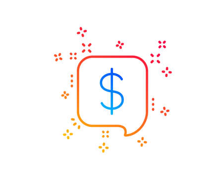Payment received line icon. Dollar sign. Finance symbol. Gradient design elements. Linear payment message icon. Random shapes. Vector