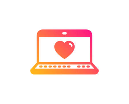 Love dating icon. Heart in Notebook sign. Valentines day symbol. Classic flat style. Gradient web love icon. Vector