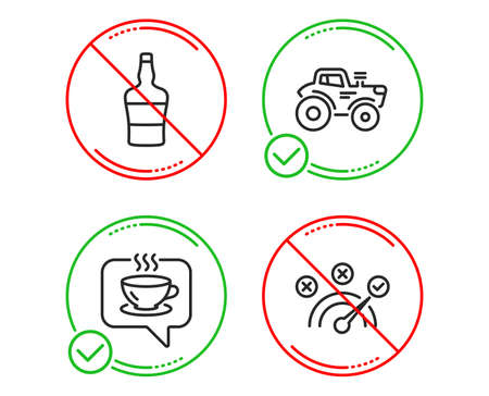 Do or Stop. bottle, Coffee and Tractor icons simple set. Correct answer sign. Brandy alcohol, Cafe, Farm transport. Speed symbol. Business set. Line bottle do icon. Prohibited ban stop