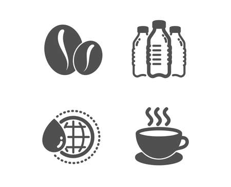 Set of Water bottles, Coffee beans and World water icons. Cappuccino sign. Aqua drinks, Whole bean, Aqua drop. Espresso cup.  Classic design water bottles icon. Flat design. Vector