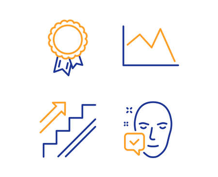Success, Stairs and Line chart icons simple set. Face accepted sign. Award reward, Stairway, Financial graph. Access granted. Business set. Linear success icon. Colorful design set. Vector