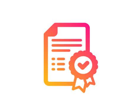 Icône de certificat. Signe de document vérifié. Symbole accepté ou confirmé. Style plat classique. Icône de certificat de dégradé. Vecteur