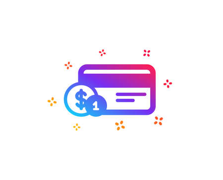 Credit card icon. Banking Payment card with Coins sign. ATM service symbol. Dynamic shapes. Gradient design payment method icon. Classic style. Vector Illustration