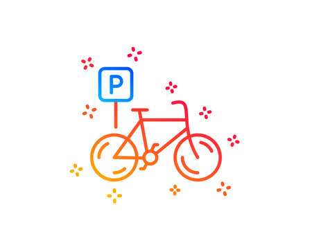 Bicycle parking line icon. Bike park sign. Public transport place symbol. Gradient design elements. Linear bicycle parking icon. Random shapes. Vector Banque d'images - 124282743