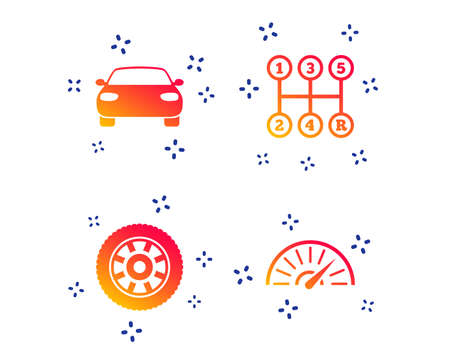 Transport icons. Car tachometer and mechanic transmission symbols. Wheel sign. Random dynamic shapes. Gradient car icon. Vector