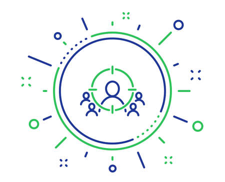 Zakelijke targeting lijn pictogram. Marketing doelstrategie symbool. Doel met mensen ondertekenen. Kwaliteit ontwerpelementen. Technologie zakelijke targeting knop. Bewerkbare streek. Vector