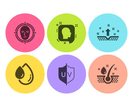 Face detect, Head and Uv protection icons simple set. Oil drop, Clean skin and Serum oil signs. Select target, Profile messages. Healthcare set. Flat face detect icon. Circle button. Vector