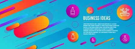 Header banner. Bell, Whiskey bottle and Head icons simple set. Phone payment, Wifi and Money bag signs. Alarm signal, Scotch alcohol. Business set. Line bell icon. Gradient elements. Vector