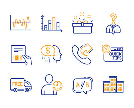 Parcel invoice, Time management and Pay icons simple set. Diagram graph, Present box and Share call signs. Hiring employees, Ab testing and Stock analysis symbols. Line parcel invoice icon. Vector Illustration