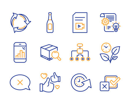 Update time, Graph phone and Video file icons simple set. Restructuring, Beer and Reject signs. Recycle, Leaves and Like symbols. Search package, Cogwheel and Checkbox. Line update time icon. Vector Çizim