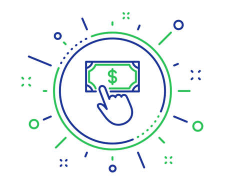 Payment click line icon. Dollar exchange sign. Finance symbol. Quality design elements. Technology payment click button. Editable stroke. Vector