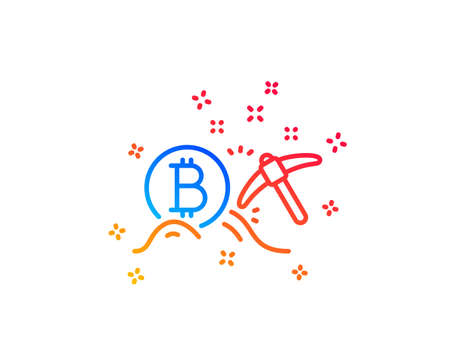 Bitcoin mining line icon. Cryptocurrency coin sign. Crypto money pickaxe symbol. Gradient design elements. Linear bitcoin mining icon. Random shapes. Vector
