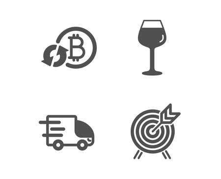 Set of Refresh bitcoin, Bordeaux glass and Truck delivery icons. Archery sign. Update cryptocurrency, Wine glass, Express service. Attraction park.  Classic design refresh bitcoin icon. Flat design