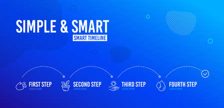 Infographic timeline. Leaves, Sun protection and Blood donation icons simple set. Oil drop sign. Grow plant, Ultraviolet care, Injury. Serum. Healthcare set. 4 steps layout. Line leaves icon. Vector Ilustração