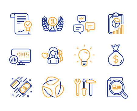 Report, Woman love and Laureate award icons simple set. Approved agreement, Money bag and Spanner tool signs. Light bulb, Leaves and Report statistics symbols. Line report icon. Colorful set. Vector