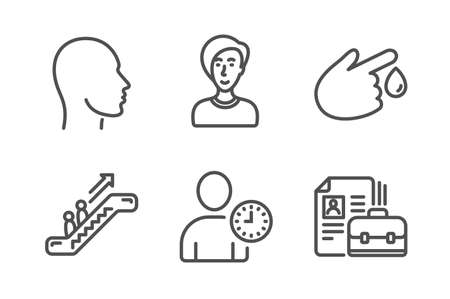 Businesswoman person, Blood donation and Head icons simple set. Escalator, Time management and Vacancy signs. Female user, Injury. People set. Line businesswoman person icon. Editable stroke. Vector Illustration